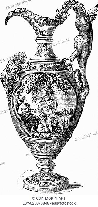 Ewer, Nevers earthenware, vintage engraving
