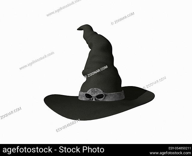 Hexenhut mit Totenkopf Hutband