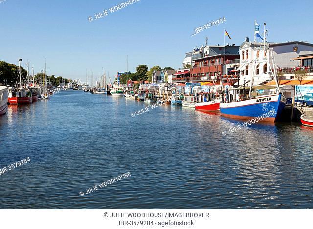 Alter Strom river, Warnemünde, Rostock, Mecklenburg-Western Pomerania, Germany