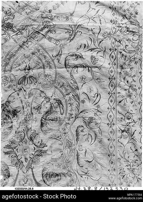 Hanging. Date: early 18th century; Culture: Indian; Medium: Silk on cotton; Dimensions: L. 85 x W. 51 inches (215.9 x 129