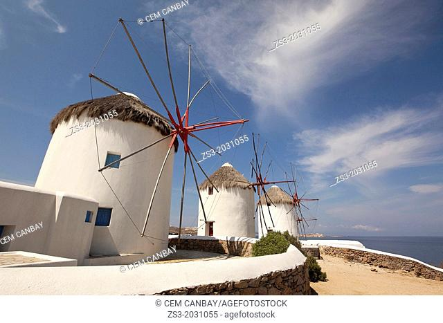Traditional windmills in Mykonos town, Mykonos, Cyclades Islands, Greek Islands, Greece, Europe.1015
