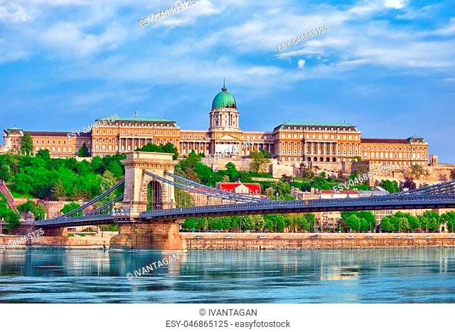 Budapest Royal Castle and Szechenyi Chain Bridge at day time from Danube river, Hungary