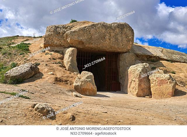 Dolmen of Menga, Menga megalithic dolmen, Antequera, UNESCO World Heritage site, Málaga province, Andalusia, Spain