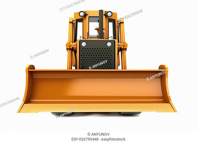 Orange dirty bulldozer isolated on white background