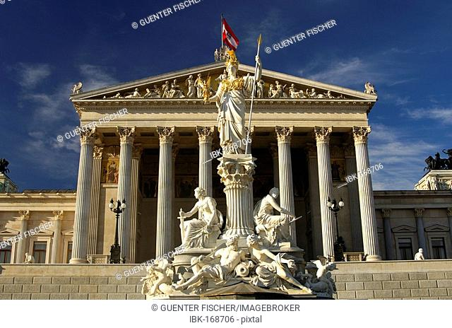 Parliament building and statue of teh goddess Pallas Athene, Vienna, Austria