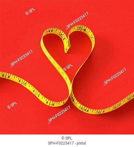 Measuring tape in heart shape