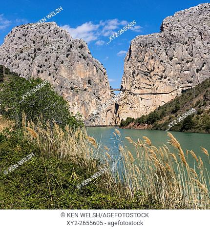 Malaga Province, Andalusia, southern Spain. El Chorro gorge near Alora. Desfiladero de los Gaitanes. The Caminito del Rey (the King's Walkway) can be seen...