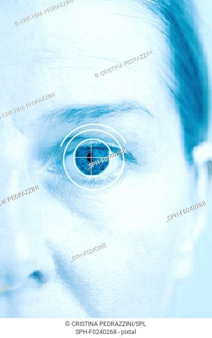 Human eye with target sign, conceptual image