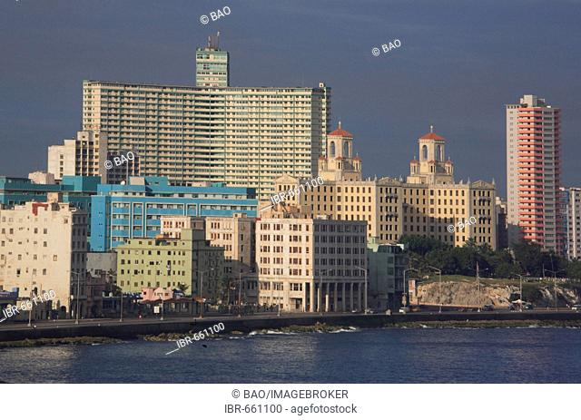 Skyline, Hotel Nacional de Cuba and Habana Libre Hotel, Havana, Cuba, Caribbean