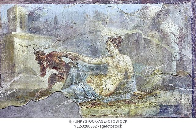 Pan and Hermaphrodite, a Roman erotic fresco painting from Pompeii, 50-79 AD , inv no 27700 , Naples National Secret Museum or Secret Cabinet