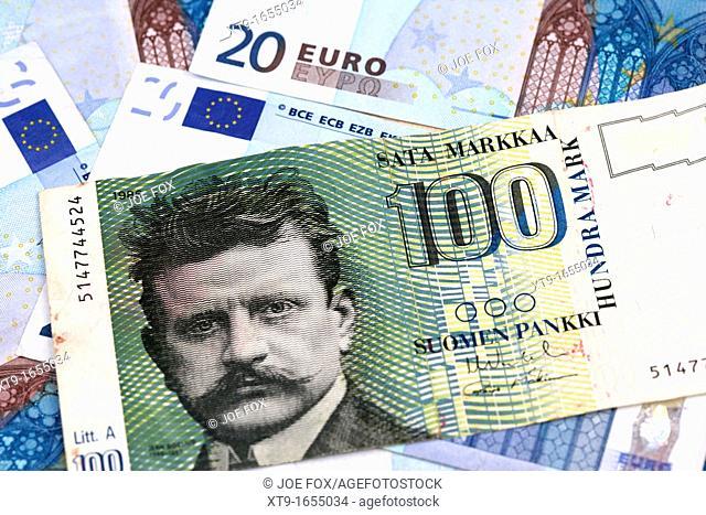 finnish markka and euro banknotes