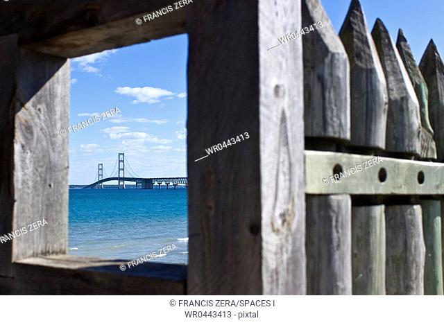 View of Bridge Through Fencing