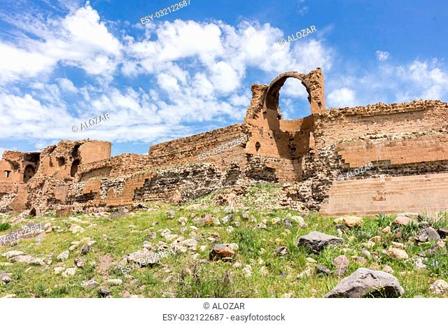 Historical Ani ruins, in the spring and natural landscapes