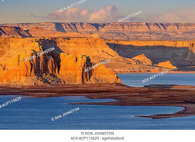 Rock formations surrounding Lake Powell near sunset, Page, Arizona, USA