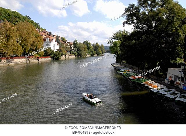 Boat on the Neckar River, boat hire, Tuebingen, Baden-Wuerttemberg, Germany, Europe