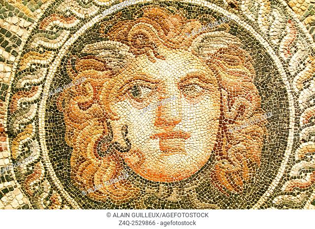Egypt, Alexandria, National Museum, detail of a mosaic representing a Medusa mask, 2nd century AD, found during excavations of the Diana theater
