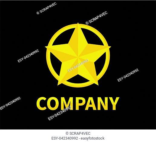 shinny star shape in gold color circle logo design idea concept illustration for modern company concept