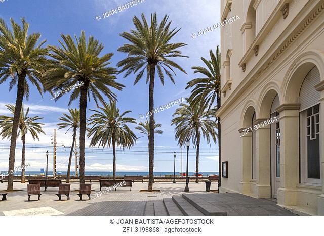 Maritime promenade, Rambla de Badalona,Catalonia