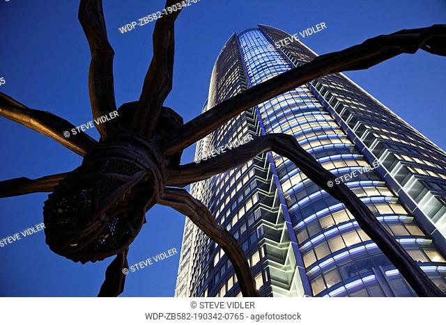 Japan, Tokyo, Roppongi, Mori Tower and Maman Spider Sculpture