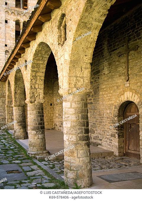 Romanesque porch of the Santa Eulàlia church, Erill la Vall. Vall de Boí, Pyrenees Mountains. Lleida province, Catalonia, Spain