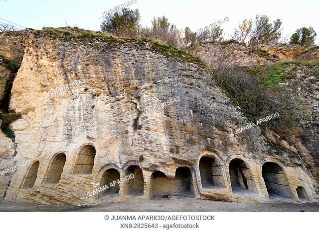 Nichos del Cementerio viejo del Castillo de Montefrío, en la base del cerro, Montefrio, Granada, Andalusia, Spain, Europe