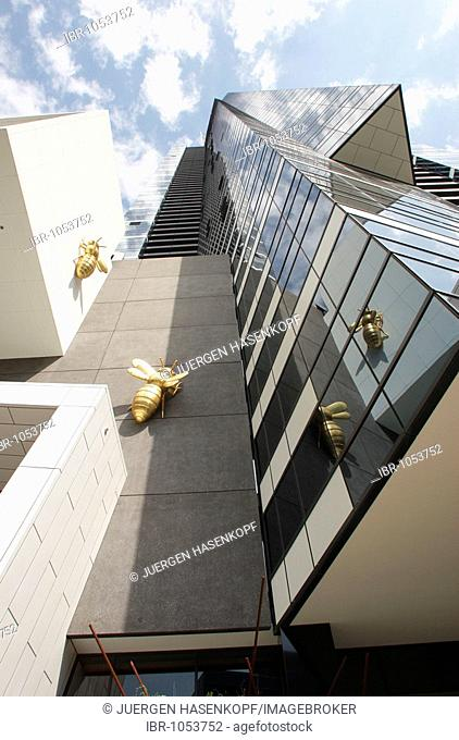 Eureka Tower and sculptures of overdimensioned flies, Melbourne, Victoria, Australia