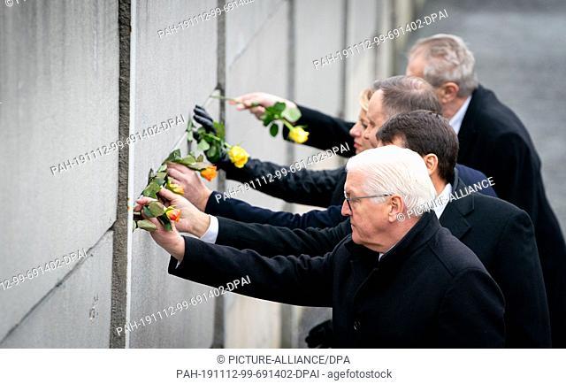 09 November 2019, Berlin: Federal President Frank-Walter Steinmeier (front-back), Andrzej Duda, President of Poland, Milos Zeman