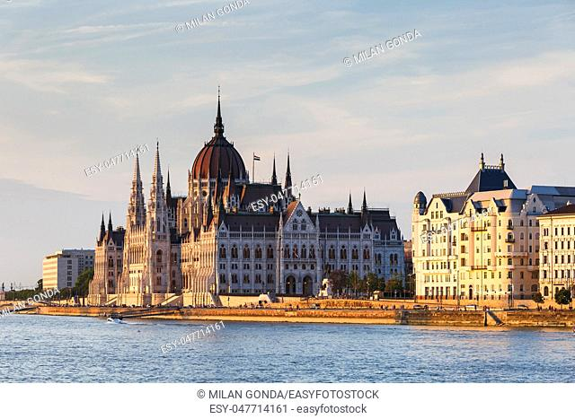 Evening view of Hungarian parliament from the Chain Bridge in Budapest.