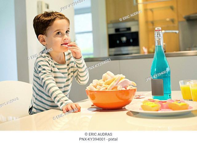 Boy eating snack