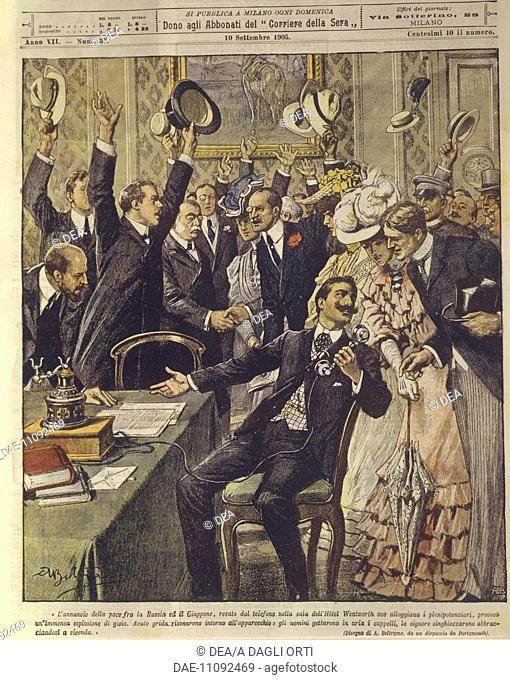 Russo-Japanese War (1904-1905) - Announcement of the peace treaty between Russia and Japan. Cover illustration from La Domenica del Corriere