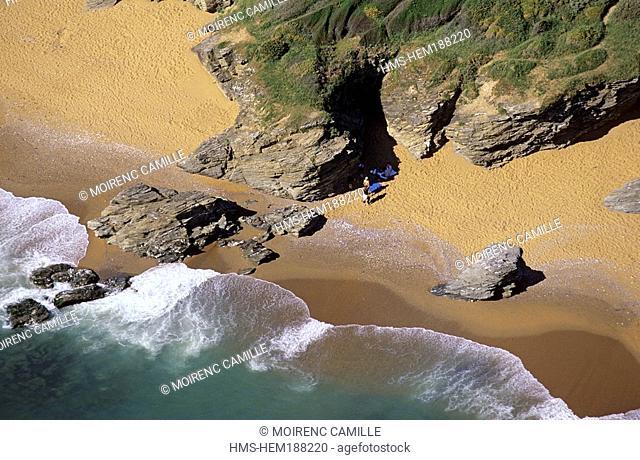 France, Loire Atlantique, beach near Pointe de Saint Gildas aerial view