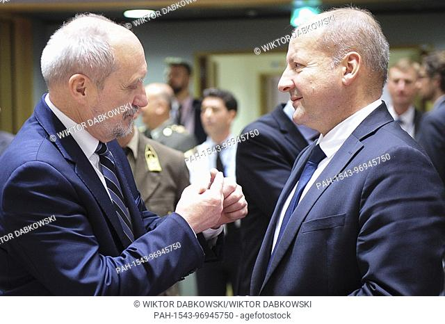 Polish Defence Minister Antoni Macierewicz (L) and Hungarian Minister of Defence István Simicskó prior to the FAC the EU Foreign Ministers Council in Brussels
