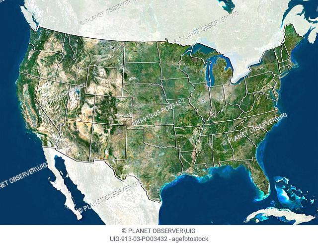 Satellite view of the United States. This image was compiled from data acquired by LANDSAT 5 & 7 satellites