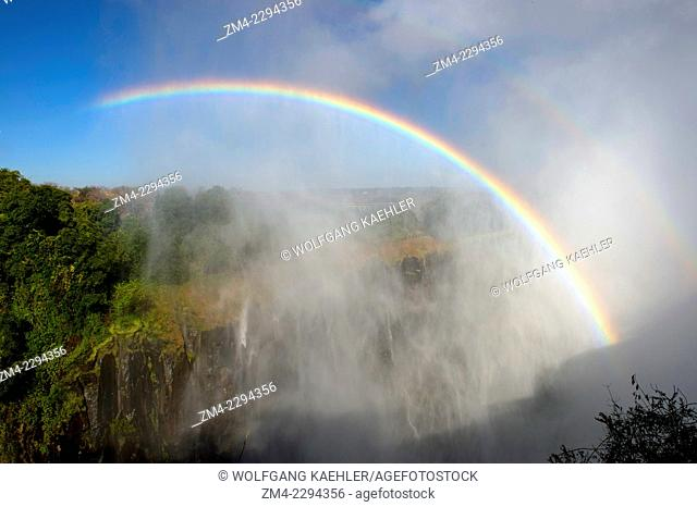 A rainbow in the spray of Victoria Falls near Livingston in Zambia