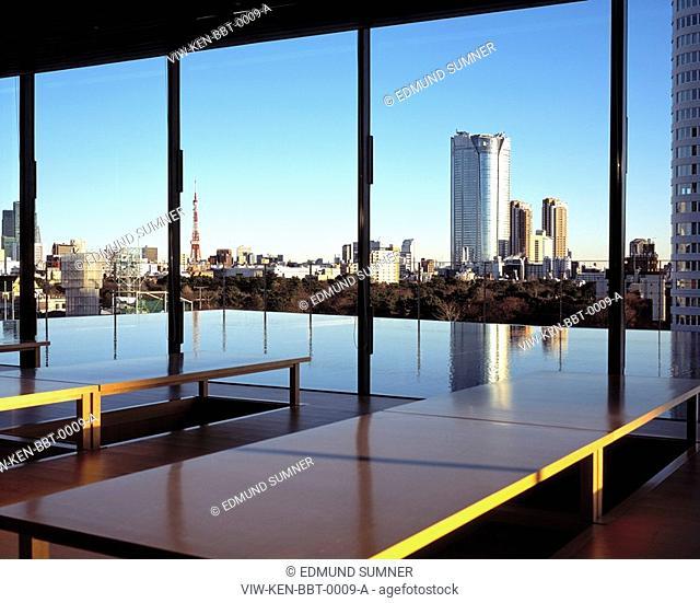 BAISOUIN TEMPLE, MINAMIAOYAMA, MINATOKU, TOKYO, JAPAN, KENGO KUMA & ASSOCIATES, EXTERIOR, INTERIOR OF ROOFTOP RECEPTION/WAITING AREA WITH VIEWS OVER TOKYO