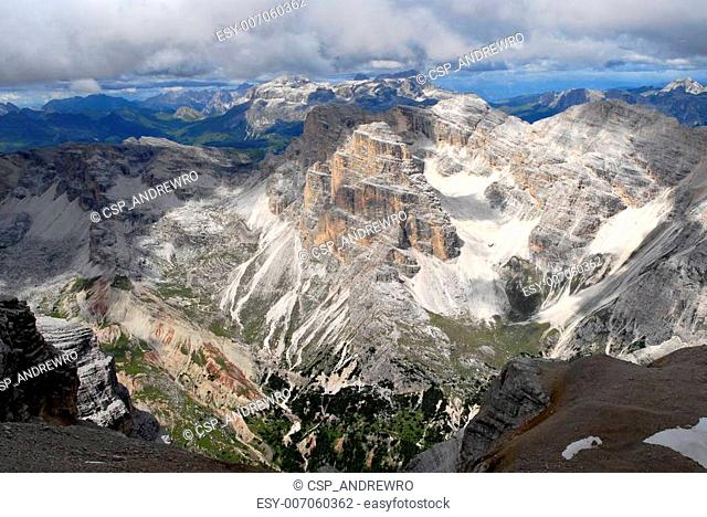 Landscape view of Dolomite Mountain