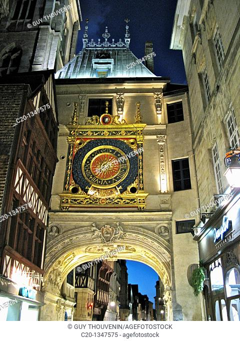 Gros Horloge 16thc  at night Old Town ROUEN Normandy 76 France