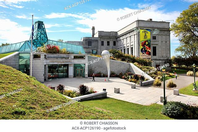 To the left is the Central pavillion of the Musee national des beaux-arts du Quebec (National Museum of Fine Arts of Quebec) and to the right is the Gerard...
