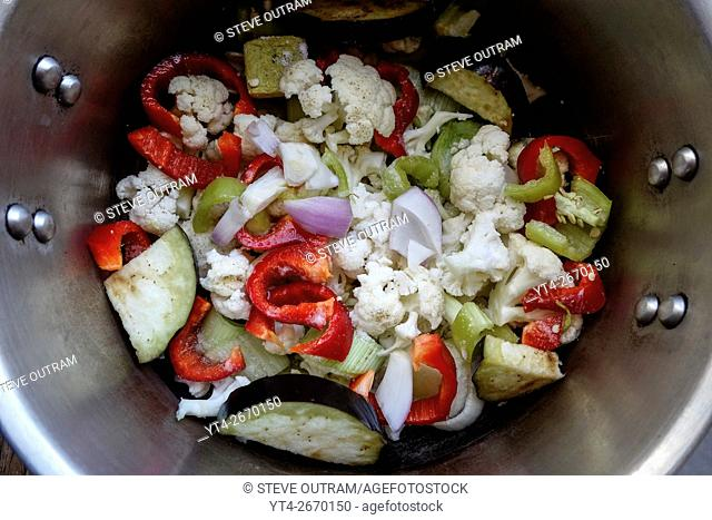 Vegetables ready to be cooked in a Pressure Cooker
