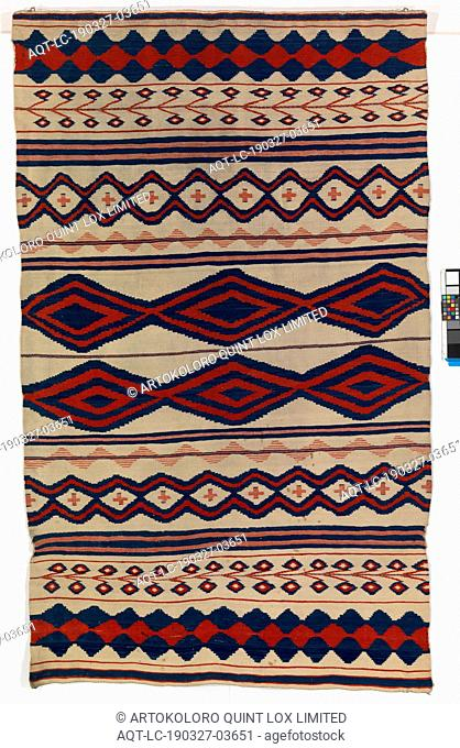 Navajo: Serape, Navajo, c. 1850–1860, Wool warp and wool weft, Overall (widest point): 85 3/4 x 51 1/4 in. (217.8 x 130.2 cm)