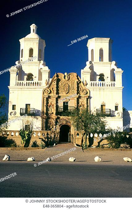 Mission San Xavier del Bac (aka White Dove of the Desert). Tucson. Arizona. USA