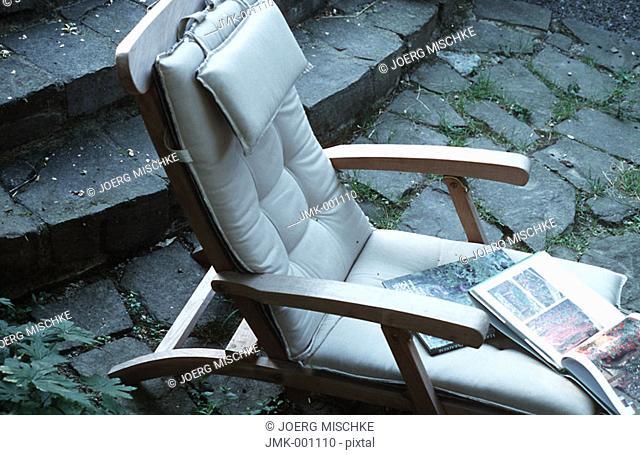 A comfortable deckchair in the garden