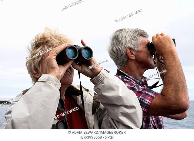 Couple, 60-65 years, using binoculars, Northumberland, England, United Kingdom