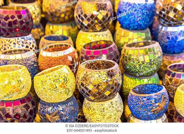 Collection of Traditional Turkish ceramic bowls on sale at Grand Bazaar in Istanbul, Turkey. Colorful ceramic souvenirs