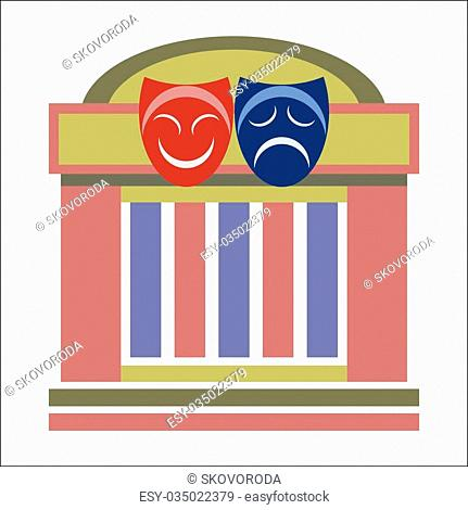 Drama theater, comedy and tragedy theatrical masks, vector illustration isolated on white background