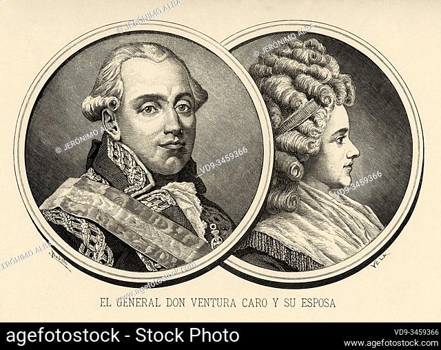 Portrait of captain general Ventura Caro and Maza de Linaza (Valencia, 1742 - Madrid, 1809), Spanish military and his wife