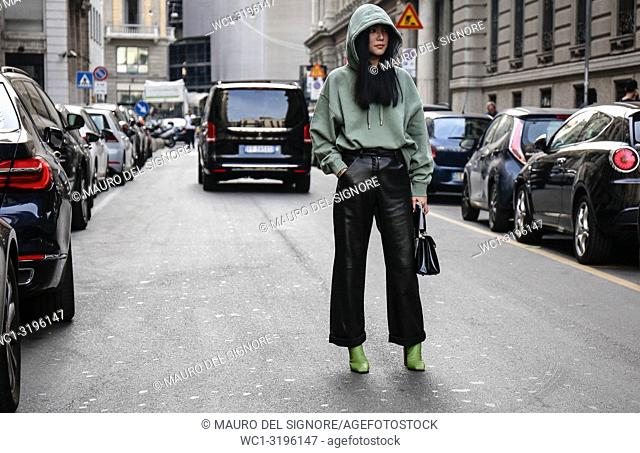 MILAN, Italy- September 22 2018: Yoyo Cao on the street during the Milan Fashion Week
