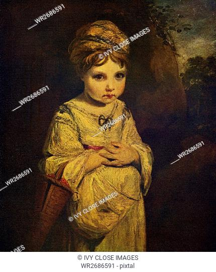 This painting, titled The Strawberry Girl, was exhibited at London's Royal Academy in 1773. It is by the English artist Sir Joshua Reynolds (1723-1792)