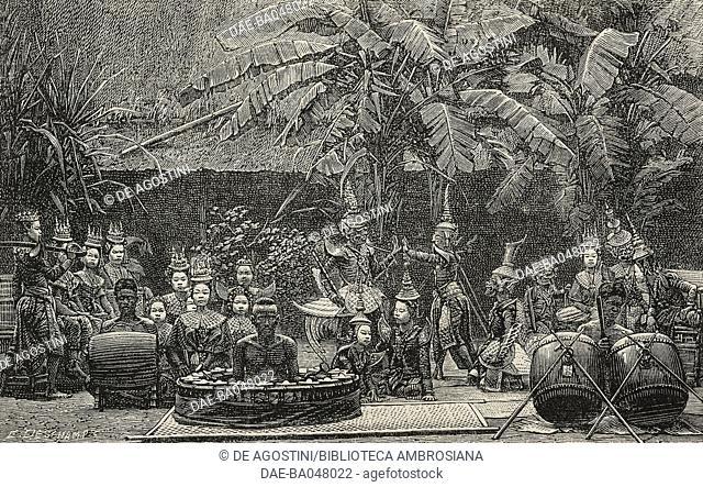 A Gamelan, harem orchestra in Java, from Java, Siam, Canton, Voyage autour du Monde, by De Beauvoir, illustration from L'Illustration, Journal Universel