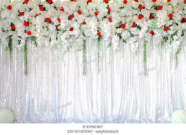 Beautiful White backdrop flowers arrangement background